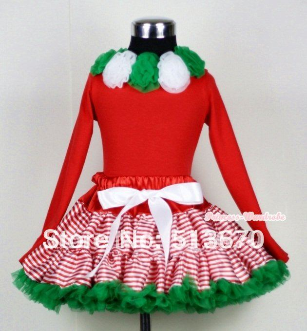 Christmas Red White Striped mix Christmas Green Pettiskirt Matching Kelly Green &amp; White Rosettes Red Long Sleeves Top MAMB02<br>