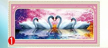 Wholesale 3D Animal Swan Lovers DMC Cross Stitch Kits 100% Printed Embroidery DIY Handmade Needle Work Wall Set Art Home Decor(China)