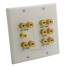 5.1 sound box speaker banana wall plate with female to female connector