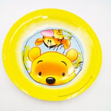 9inch 6pcs Kids Favors Winnie the Pooh Baby Shower Tableware Paper Plates Happy Birthday Party Decoration Events Supplie for(China)