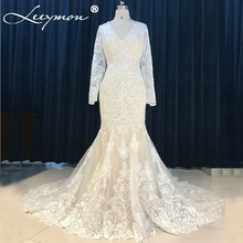 Buy Real Simple Romantic Ivory Lace Mermaid Wedding Dresses 2018 Full Sleeve Appliques Bridal Gowns Bride Dress Robe De Mariage for $239.87 in AliExpress store