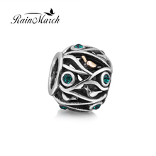 Gold bird charm Original 925 sterling silver spacer beads with green quartz stone Fits for Pandora Bracelets free shipping(China)