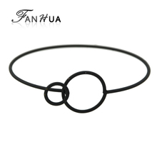 FANHUA Circle Geometric Bracelet Gold-Color Silver Color Black Runk Rock Jewelry Alloy Bangles For Women Open Cuff Bangles