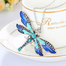 Brilliant Fashion New 2016 Dragonfly Charms Chic Necklace With Chain Rhinestone Inlay Gemtone Bohemian Statement necklace