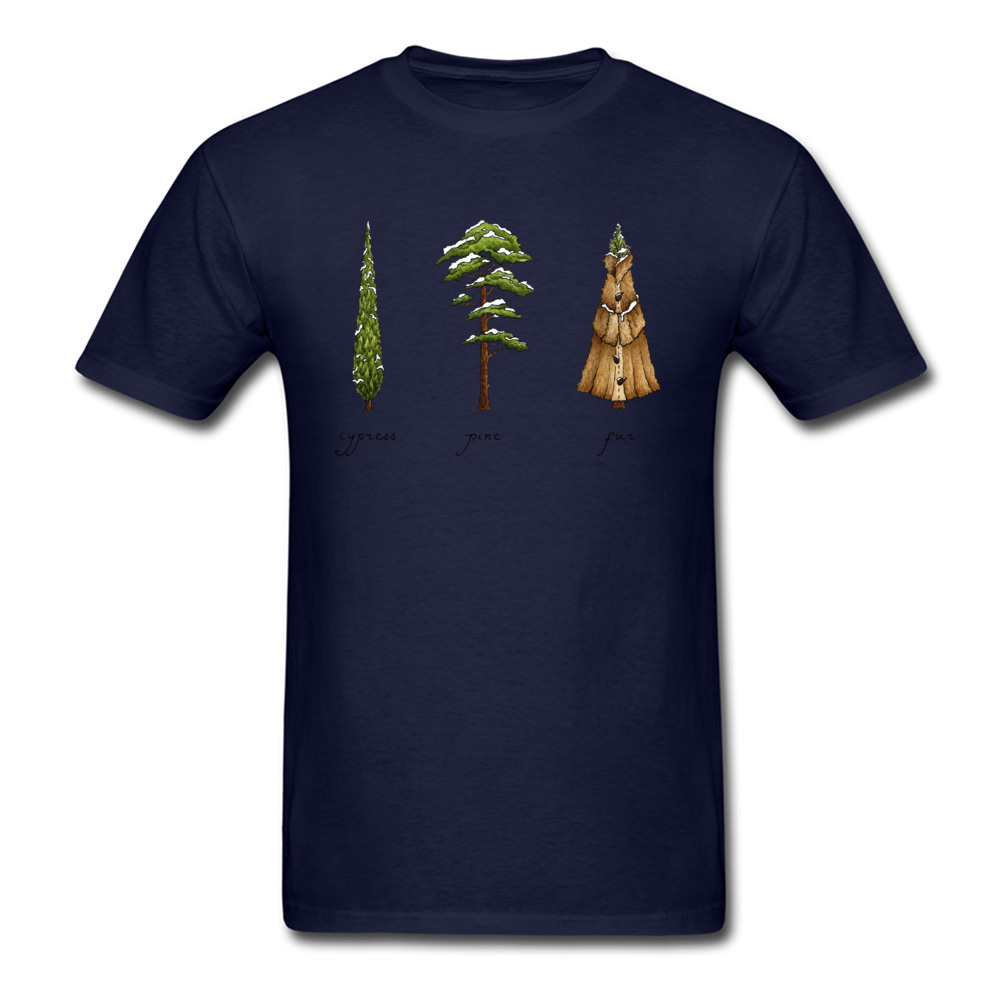 Know Your Coniferous Trees T-shirts for Men Street Fall Tops Shirt Short Sleeve Brand Printed On Tee-Shirt O Neck Pure Cotton Know Your Coniferous Trees navy