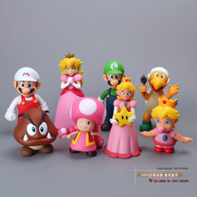 Super Mario Bros Mario Yoshi Luigi Peach Toad Bowser Goomba Mushroom Hammer Brother PVC Action Figure Model Toys Dolls 12 Types