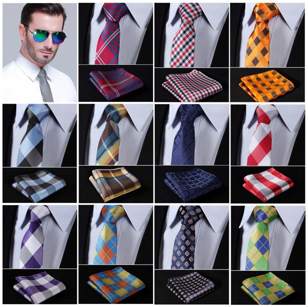 """TC350R7 Red Blue Check 2.75/"""" Silk Slim Skinny Narrow Tie Necktie Pocket Square"""