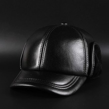 BooLawDee Black genuine sheepskin leather men bomber hat winter ear protection for old people senior citizens 55-60cm 12E-1