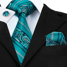 SN-455 Teal Striped Tie Hanky Cufflinks Sets Men's 100% Silk Ties for men Formal Wedding Party Groom(China)