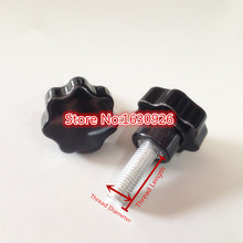 5mm x 50mm Male Thread Straight 25mm Star Design Head Clamping Screw On Type Knob Black for industry equipment