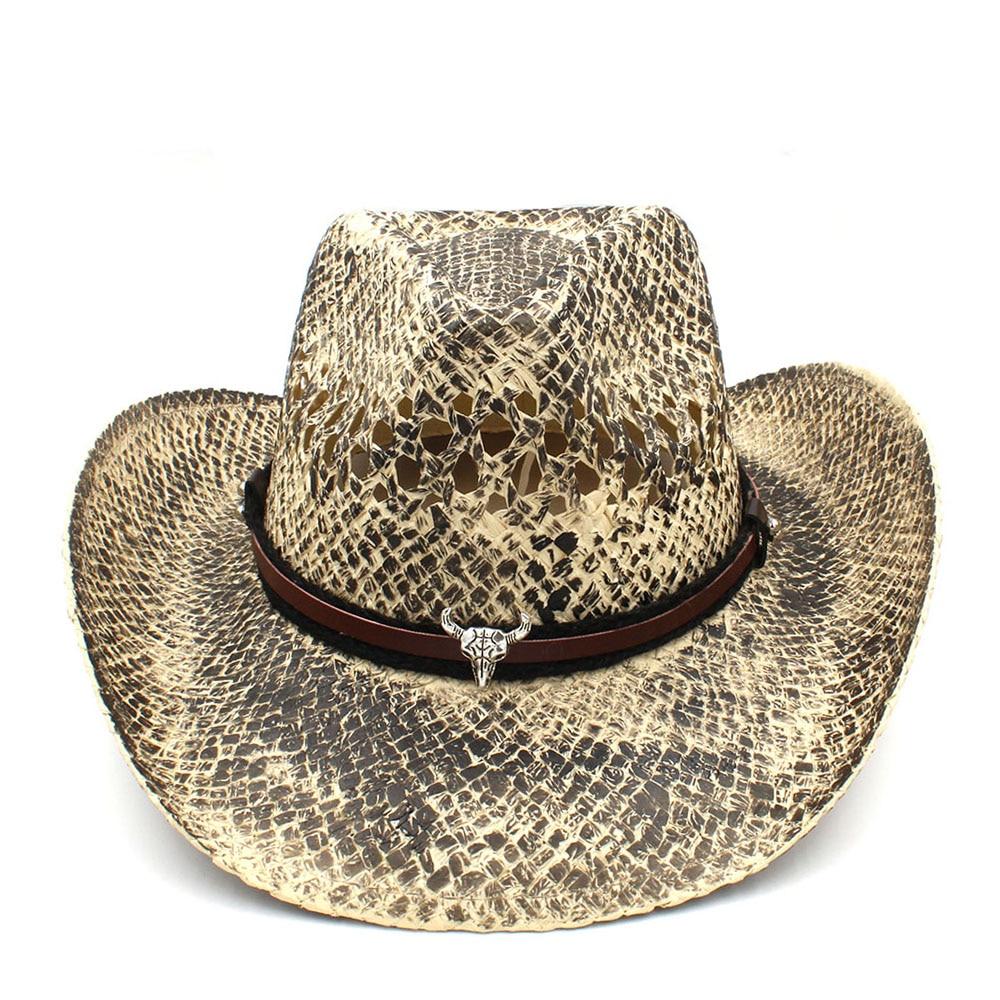 9b5287e78397f Women Men Straw Western Cowboy Hat Summer Handmade Weave Lady ...
