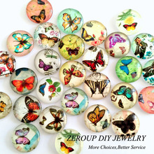 ZEROUP 50pcs/lot 12mm round glass dome cabochon butterfly mixed pattern fit cameo base setting for jewelry flatback