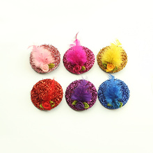 Armi store Handmade Shiny Feather Roses Cute Little Hat Hairpin 6028003 Pet Dog Top-Knot Alligator Clip Hat 5pcs/lot(China)