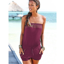 Sexy Sleeveless jumpsuit romper women summer women slash neck jumpsuit lady pockets shorts beach coveralls ladies female frock(China)
