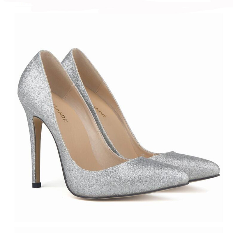 2017 Spring New Brand PU Women Pumps Sexy Pointed High-heeled Shoes Black Silver Gold High Heels Wedding Shoes Large Size42 XP35<br><br>Aliexpress