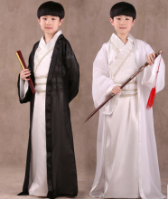 Chinese National Hanfu Black Ancient China Costume Hanfu Black/ White Traditional National Tang Suit Stage Costumes(China)