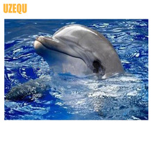 UzeQu Full Diamond Embroidery Dolphin 5D DIY Diamond Painting Cross Stitch Animal Diamond Mosaic Painting Rhinestones Home Decor