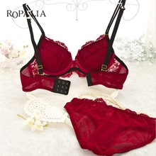 Buy Sexy Womens Set Embroidery Lace Lingerie Underwear Push-Up Padded Bra Underwire Wholesale