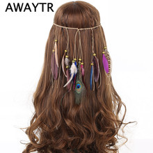 New Indian Hippie Bohemian Women Headwear Handmade Wooden Bead Feather Hair Jewelry Peacock Feather Headband Wholesale Price