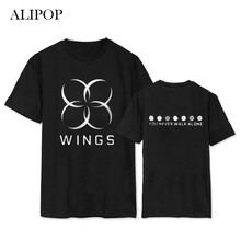 ALIPOP Kpop BTS WINGS You Never Walk Alone Album Shirts Casual Cotton Clothes Tshirt T Shirt Short Sleeve Tops T-shirt DX413