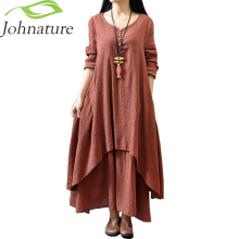 Johnature Cotton Color Women Maxi Dress 2017 Autumn New False Two-piece Long Sleeve Round Neck Loose Plus Size Irregular Dress(China)