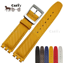 17mm Genuine Leather Strap Women Fashion Watch Red/Blue/Yellow/Black/Brown/White Waterproof Watchband for Swatch Watch(China)