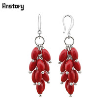 Cluster Natural Red Coral Bead Hook Earrings For Women Personality Design Fashion Jewelry Antique Silver Plated TE251(China)