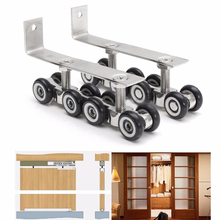 Mayitr 8/12 Wheels Door Hanging Wheels Roller Hanging Sliding Wooden Silent Door Wheels Closet Hangers Roller Hardware Kit