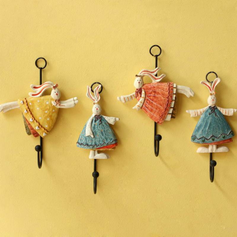 1pcs Creative Angel Bunny Resin Wall Sticker Hanging Hook for Home Decorations Livingroom Bedroom Free Shipping 5ZCF062(China)
