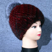 New winter Parent-child Special promotion women girl Luxurious mink fur hat warm genuine leather fur Fox fur ball Weave hats cap