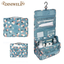 Unisex Blue Print Hanging Toiletry Kit Clear Travel Storage BAG Cosmetic Carry Toiletry Organizer For Traveling Bathroom