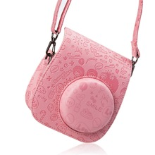 Lovely Pink Fujifilm Instax Mini 8/Mini 8s Case - Pu Leather Instax Mini 8 Camera Case Bag with Shoulder Strap and Pocket