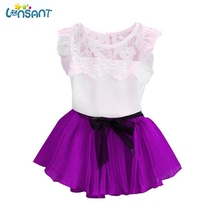 LONSANT 2017 Baby Girl Clothes Kids Princess Party Birthday  lace Sleeveless Shirts Skirts Set Children's Clothing Dropshipping