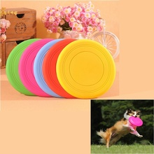 1PC Multi Color Fantastic Silicone Pet Dog Chew Toy Frisbee Training Flying Disc Tide Durable Indestructible Strong(China)