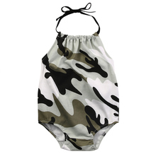 Newborn Infant Baby Girl Romper Sleeveless Belt Romper Jumpsuit Clothes Outfits Camouflage Set(China)