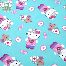 100*110cm Hello Kitty Patchwork Cotton Fabric for Tissue Kids Bedding Textile for Sewing Tilda Doll, DIY Plain Handmade Material