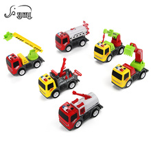 Mini Portable Diecast Engineering Truck Kids Toys Light Dump Electronic Car Model Children Classic Educational Toy Gift 6 Styles