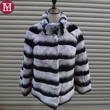 2017 Brand Winter women real rex rabbit fur coat warm soft fur jacket for lady fashion Chinchilla fur outerwear striped elegant