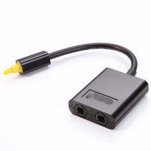 One To Two 2 Way Digital Toslink Optical Fiber SPDIF Audio Y Splitter 1 to 2 Cable Adapter DVD CD