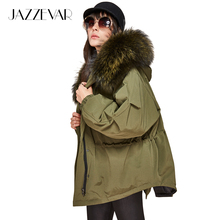 JAZZEVAR New Fashion winter Women's down jacket oversize Dovetail 90% white duck down coat large real raccoon fur Hooded Parka(China)