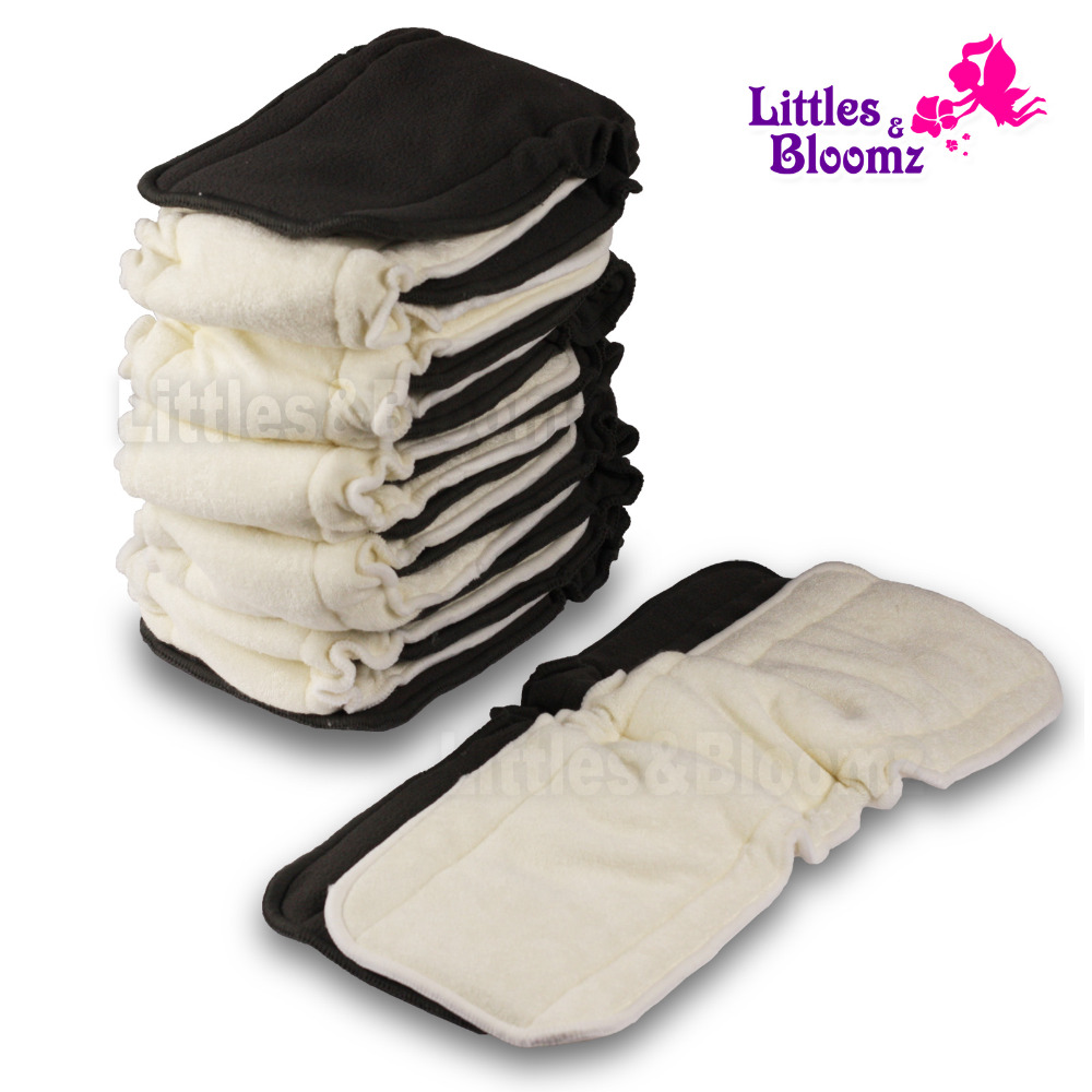[Littles&Bloomz] Baby Bamboo Reusable Cloth Diaper Inserts Charcoal Washable Nappy Liners 5 Layers Changing Liners For Cover