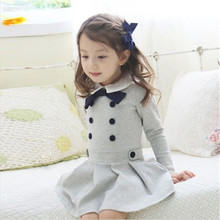 XYFS 9698 retail baby girl clothes long sleeves children kids girl for beautiful party dress free shipping school design wear