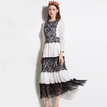 Vintage Dresses 2017 Summer Long Sleeve Patchwork 3/4 Sleeve Mid-Calf Loose Elegant Classic White black Lace Dress(China)