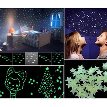 100pcs/lot Home Wall Glow In The Dark Stars Wall Stickers Art For Kids Rooms Home Decoration Accessories Decor