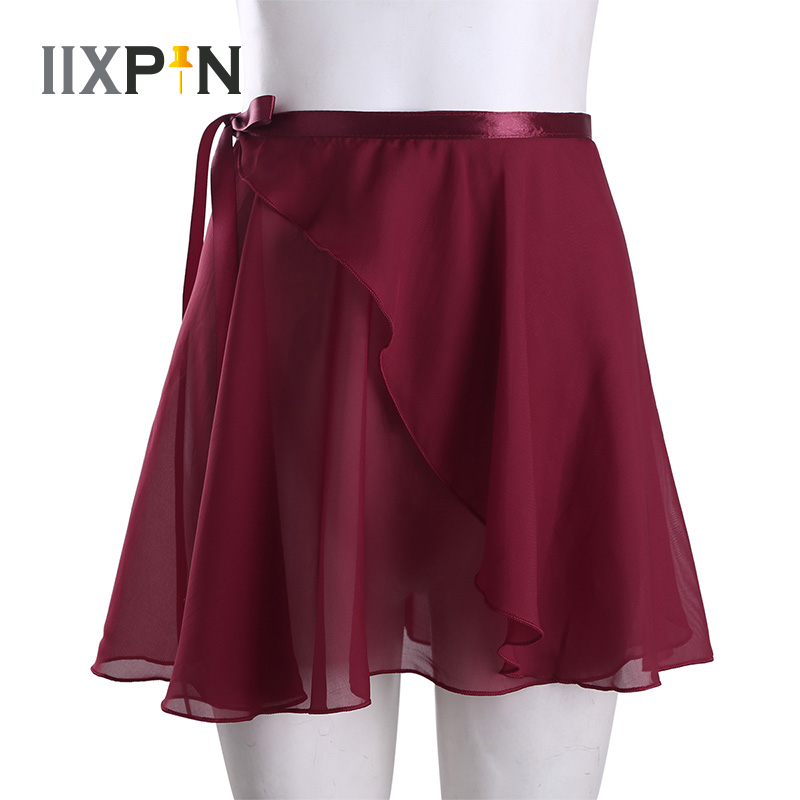 IIXPIN Adult Ladies Ballet Wrap Over Scarf Dance Tutu Skirt Chiffon Ballet Wrap Skirt Dance Skate Wrap Over Scarf With Waist Tie