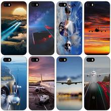 Airplane Black Plastic Case Cover Shell for iPhone Apple 4 4s 5 5s SE 5c 6 6s 7 Plus