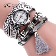 Duoya Brand Fashion Watch Women Classic Bracelet Silver Original Design Tassel Pendant Wristwatches Leather Vintage Quartz Watch(China)