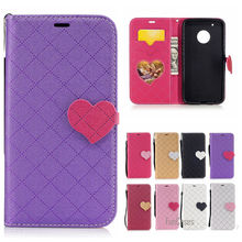 Hot 2017 Multicolor PU Leather Case For Moto G5 Plus Love Heart Flip Protection For Motorola G5 Plus XT1684 XT1685 Telefono case(China)