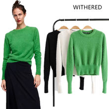 Withered 2018 BTS women sweater england style solid mohair collect waist  none regular fashion sweater women tops plus size 0926 ac5ad7f28128