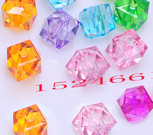 8x8mm Acrylic Spacer Beads Cube Mixed ,Hole:Approx 1.8mm,300PCs *crafts materials plastic chunky alphabet bubblegum